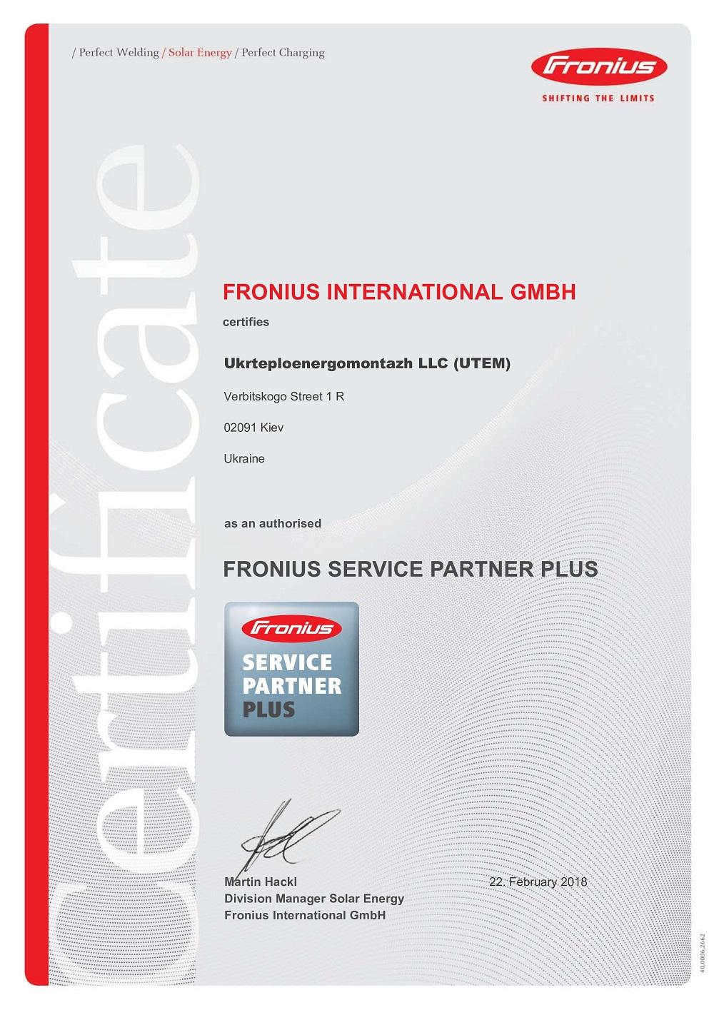 UTEM SOLAR - FRONIUS Service Partner Plus 2018