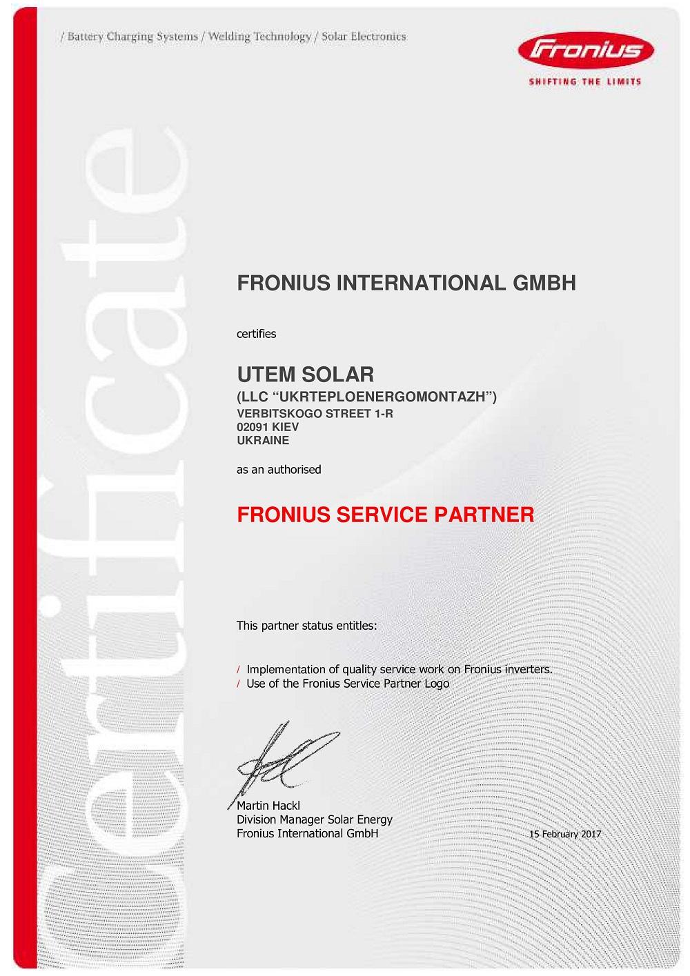 UTEM SOLAR - FRONIUS Service Partner 2017