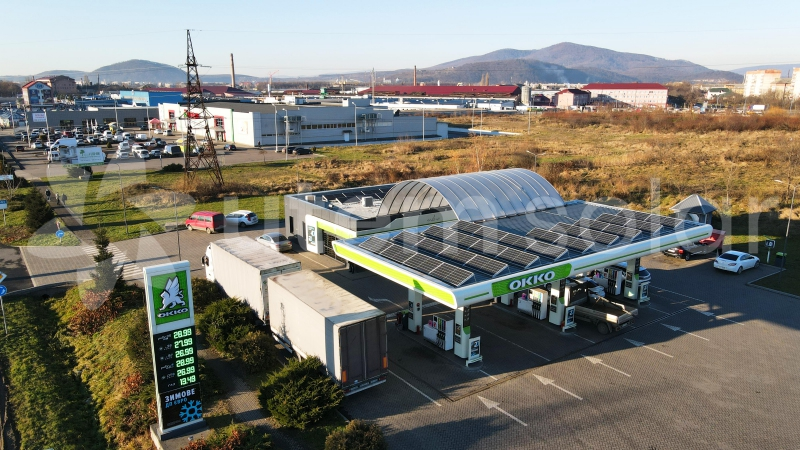 Солнечная электростанция 15 кВт на АЗС ОККО в г. Мукачево, Закарпатская область