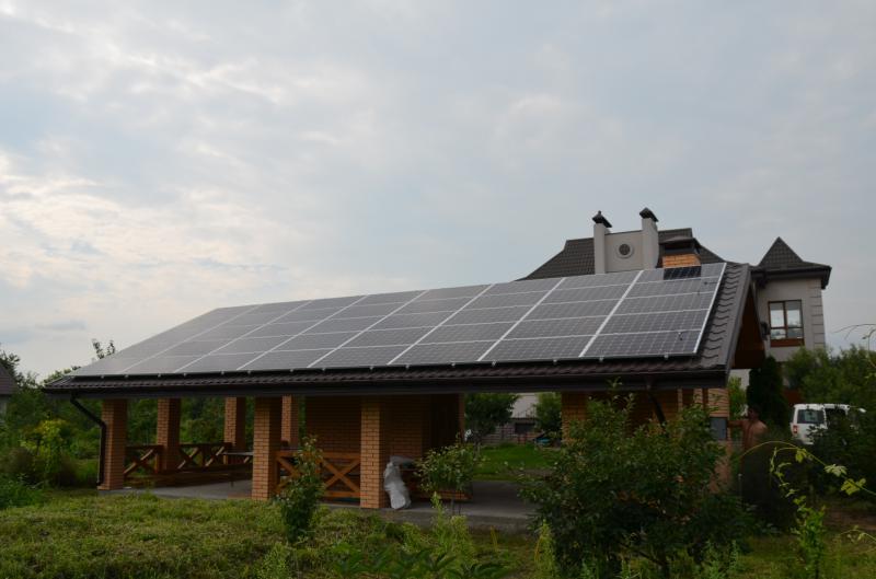 Солнечная электростанция для дома мощностью 12 кВт в Княжичах, Киевская область