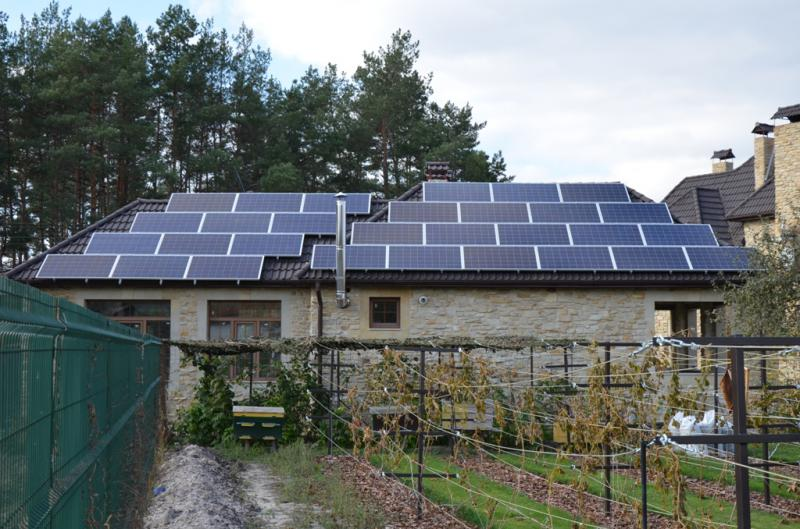 Домашняя солнечная электростанция мощностью 15 кВт в Процеве