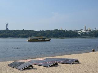 солнечные батареи Q Cells на берегу реки Днепр